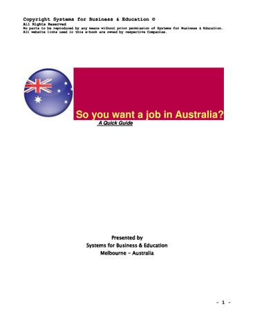 So you want a job in Australia ?