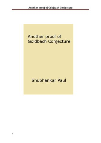 Another proof of Goldbach Conjecture