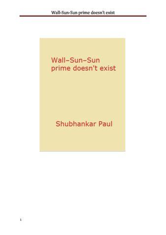Wall-Sun-Sun prime doesn't exist