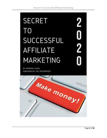 Secret To Successful Affiliate Marketing 2020
