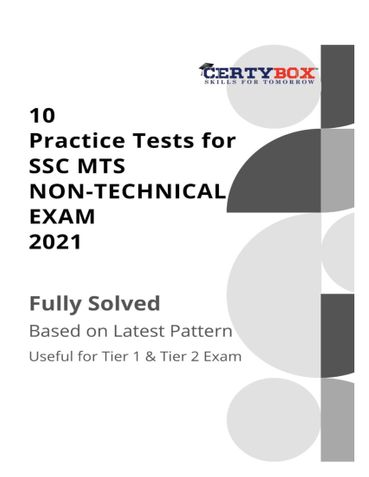 10 Practice Tests for SSC MTS Non-Technical Exam 2021