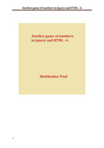 Another game of numbers in Jquery and HTML - 6