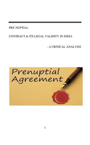 Prenuptial Agreements and their validity