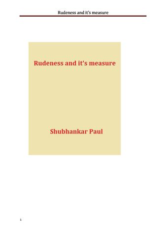 Rudeness and it's measure