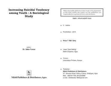 Increasing Suicidal Tendency among Youth : A Sociological Perspective