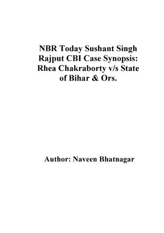 NBR Today Sushant Singh Rajput CBI Case Synopsis: Rhea Chakraborty v/s State of Bihar & Ors.