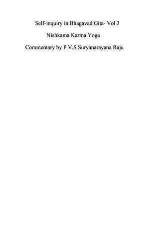 Self-inquiry in Bhagawad Gita Vol 3.